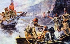 1805: Sacajawea interprets Lewis and Clark's intentions to the Chinook Indians. Sacajawea, a young Shoshone Indian was married to French Canadian fur trader Toussaint Charbonneau who was acting as the expedition's guide across the Rocky Mountains in Oregon Country. Original Artist - Charles Russell (Photo by MPI/Getty Images)