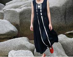 Maxi Linen Dress / Black Linen dress black dress от camelliatune