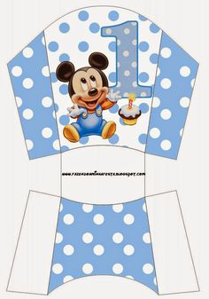 Mickey Primer Año con Lunares: Cajas para Imprimir Gratis.