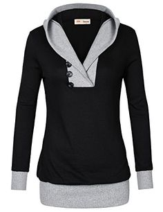 50% OFF SALE PRICE - $16.99 - Timeson Womens Long Sleeve Knitted Panel Hooded Casual Sweatshirt