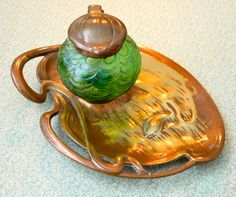 Glass and Bronze inkwell on a bronze lily pad. _Judith Walker's Collection