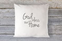 God Bless Our Home Pillow Cover  Christian by TheSeafoamCottage