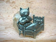 Vintage Cat Brooch Bed Time Reading Pewter Pin JJ Jewelry