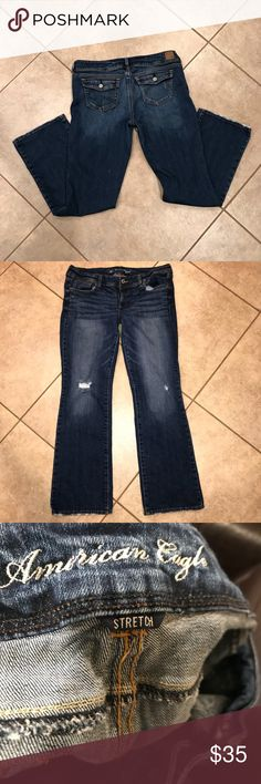 American Eagle slim boot stretch size 18 long American Eagle size 18 long stretch boot cut live your life jeans with distressed rips at knees and buttons on back pockets. Approximately 32 inch inseam American Eagle Outfitters Jeans