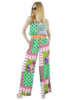 Salopeta Dama Clown  Salopeta dama cu imprimeu multicolor modern ce va va face cu siguranta remarcata.  Detaliu - fara bretele, curea inclusa.     Lungime: 145cm  Latime talie: 36cm  Compozitie: 100%Poliester Pajama Pants, Pajamas, Modern, Dresses, Fashion, Pjs, Vestidos, Moda, Trendy Tree