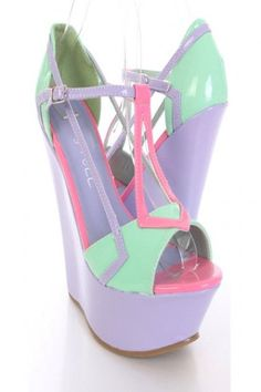 Mint Green Patent Faux Leather Strappy Colorblock Wedges