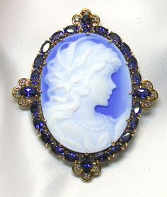 Ladies Blue Agate Yellow Gold Brooch/Enhancer with Amethyst and Diamonds Accents Opal, Amethyst, Gold Brooches, Victorian Fashion, Yellow, Blue, Agate, Diamonds, Jewels