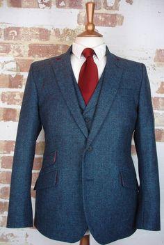 3 Piece Blue Tweed Wedding Suit