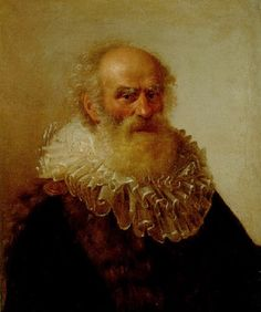 """""""Portrait of an old man, wearing a fur trimmed coat and a white ruff"""" -  Christoph Paudiss (German, 1618-1667)"""