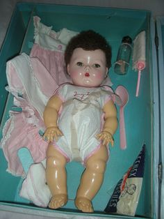 Vintage American Character Tiny Tears Doll with Case Layette from charlottewebcollectibles on Ruby Lane
