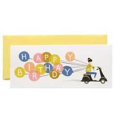 Birthday Scooter single folded card