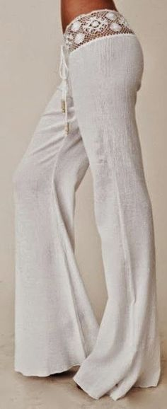 Gorgeous crochet detail white pant fashion for boho chic inspiration