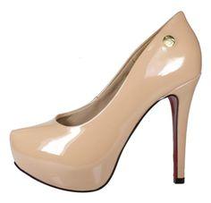 b8dbbadf5 Scarpin Week shoes Salto Alto Meia-Pata Envernizado Nude