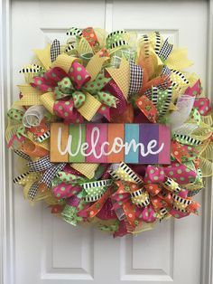 Welcome Deco Mesh Wreath, Easter Wreath, Spring Wreath, Deco Mesh Wreath, Mothers Day Gift, Summer Wreath, Door Decor, Entryway, Home Decor This vibrant colorful Welcome Wreath will make a statement on anyones door! This wreath is versatile..It can be used for Easter, Spring or