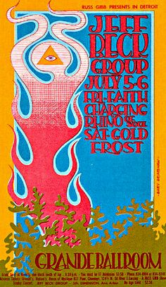 This concert postcard is from 7-28/9/30-68. at the grande ballroom..The bands performing were,  JULY 5/FRIDAY....1968. --The Jeff Beck Group.  --Faith. --Charging Rhino of Soul. JULY 6/SATURDAY: --The Jeff Beck Group. --The Frost.  --Gold. Poster Artist: Gary Grimshaw.
