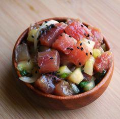 New recipe .Ahi Poke with Sweet Onions & Lemon Cucumbers: A fresh recipe perfect for summertime beach picnics! Wine Recipes, Seafood Recipes, Asian Recipes, Healthy Recipes, Yummy Recipes, Chef Recipes, Yummy Food, Ahi Poke, Tuna Poke