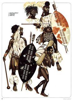 Zulu warriors by Angus MC Bride African Culture, African American History, African Art, African Life, Zulu Warrior, Tribal Warrior, Military Art, Military History, South African Tribes