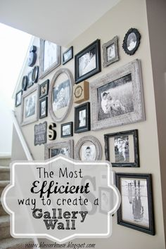 The Most Efficient Way to Create a Gallery Wall &;er House The Most Efficient Way to Create a Gallery Wall &;er House Lonni Grattan lonnirae wall picture collage A few […] collage stairway Frame Wall Collage, Photo Wall Collage, Frames On Wall, Picture Frames On The Wall Stairs, Picture Wall Staircase, Wall Picture Collages, Stair Photo Walls, Hanging Picture Frames, Photo Canvas