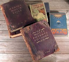 "Harry Potter style Hogwarts Library Spell books•• ""You are aiming to remove the top layer of the cover where the letters are, so that the title looks as it it's been stamped into the cover.""-gingerpete50 Standing Stone Studios"