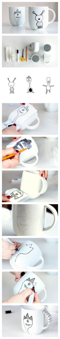 How to decorate a coffee mug with a porcelain marker