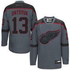 Mens Detroit Red Wings Pavel Datsyuk Reebok Charcoal Cross Check Premier Fashion Jersey