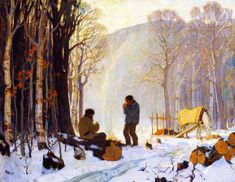 Early Winter Morning In The Woods, Baie-saint-paul Artwork By Clarence Gagnon Oil Painting & Art Prints On Canvas For Sale Canadian Painters, Canadian Artists, A4 Poster, Poster Prints, Clarence Gagnon, Hunters In The Snow, Of Montreal, Illustrations, Vintage Artwork