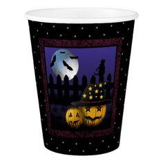 Halloween Pumpkins Black Cat and Bats Paper Cup - halloween decor diy cyo personalize unique party