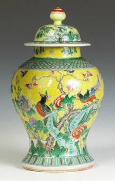 Chinese Yellow Background Temple Jar