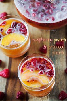 Raspberry Peach Prosecco Punch   www.tablefortwoblog.com