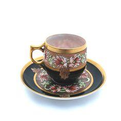 Antique Porcelain Demitasse Cup Saucer Pickard Mark 5 AK France Black ...