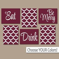 eat drink be merry canvas or prints maroon kitchen wall art quatrefoil artwork choose