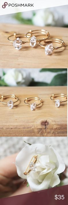 Herkimer Diamond Crystal Wire Wrapped Ring Dainty Gold Filled Ring, Herkimer Diamond Ring  This dainty gold ring features 8mm genuine herkimer diamond crystals on a 14 kt gold filled ring band. This ring is simple yet elegant, with its dainty adjustable band and natural, organic style!   Sizing: The band is adjustable when using pliers, but before purchasing, please specify your size preference (5 through 10) and I will adjust the band to fit that size best. LucyMint Jewelry Rings