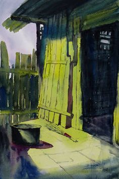 "At The Door, watercolor on paper, 21""X14"""