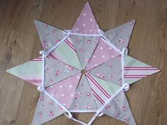 SHABBY CHIC CLARKE & CLARKE SAGE TAUPE & PINK FLORAL STRIPE SPOT FABRIC BUNTING