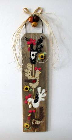 Your place to buy and sell all things handmade Chicken Crafts, Chicken Art, Barn Wood Crafts, Wooden Crafts, Black And White Chickens, Rustic Art, Rustic Wood, Wood Craft Patterns, Primitive Snowmen