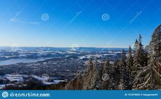 Photo about Winter wonderland in Hedmark county Norway. View over Brumunddal from høsbjørg. Nice fir trees and blue sky. Image of hsbjrg, nice, hedmark - 131079092 Fir Tree, Winter Wonderland, Norway, Trees, Sky, Stock Photos, Mountains, Nice, Image