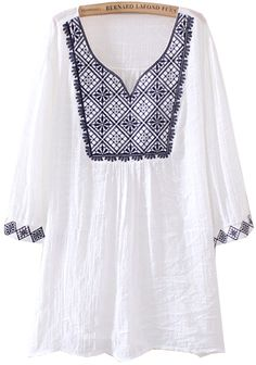 White V Neck Short Sleeve Tribal Embroidered Blouse EUR€19.80