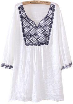 White V Neck Short Sleeve Tribal Embroidered Blouse EUR€19.80