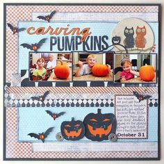 Carving Pumpkins...My Mind's Eye Mischievous Collection...Halloween Layout