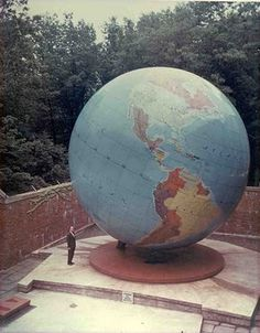 World Globe at Babson College in Babson Park, 231 Forest Street, Wellesley, MA . It was dedicated in 1955 and then refurbished in 1993. It is one of the largest free standing globes in the world, 28 feet in diameter and coming in at 25 tons. And it can spin on its base and axis.