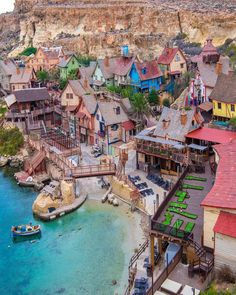 Popeye Village, Malta🇲🇹⚓️ It has grown from its days as a Film Set of the 1980 Musical Production 'Popeye' into one of the major tourist… Beautiful Places To Travel, Wonderful Places, Amazing Places, Walt Disney, Malta Beaches, Village Photos, Malta Island, Voyage Europe, Destination Voyage