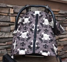 Reversible Car Seat Canopy  Skully and Crosswise by NotyBaby, $44.00