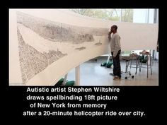 Autistic artist Stephen Wiltshire draws spellbinding 18ft picture of New York from memory after a 20-minute helicopter ride over city.