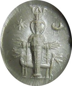This is an impression of a RARE ancient Roman Sard intaglio, dating 2nd - 3rd century A.D. This important gem, depicts the cult statue of Artemis, held in the sanctuary at her temple in Ephesus (one of the seven wonders of the ancient world). This piece of miniature sculpture depicts her in full glory, as she would have appeared to pilgrims of this important shrine. The engraved figure of Artemis (Diana) is surrounded by gnostic markings, wearing a modius crown and layered dress,..