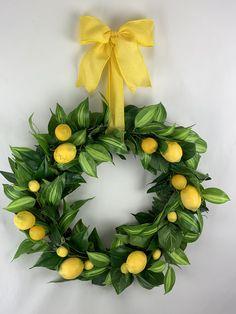 Lemon Wreath with Yellow Ribbon, Green Wreath with Lemons and Yellow Ribbon Wreaths For Sale, Wreaths For Front Door, Front Porch, Green Wreath, Floral Wreath, Wreath Crafts, Wreath Ideas, Lemon Wreath, Magnolia Leaves