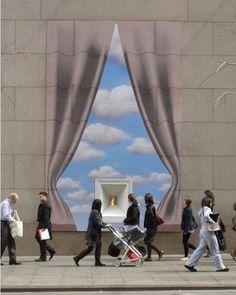 "Great ""pull back the curtains"" window. #store #retail #storewindow #design #designer #visual #visualmerchandising #window #windowdisplay #merchant #shop #impactful #business #storefront #streetlocation #eyecatching"
