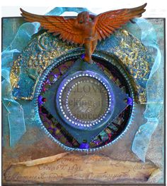 Page from 'Circles' LFB, with rusted angel and layered recycled bits and pieces. / by Joy Bathie / http://www.pinterest.com/joybathie/my-own-arty-stuff