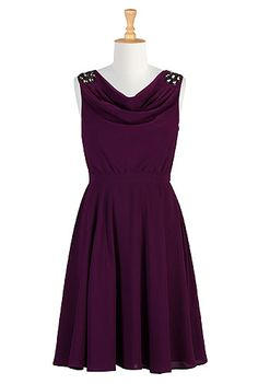 Crystallized cowl neck dress