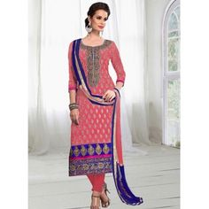 Smashing Pink Chanderi Dress Material with Pink Color Chanderi Bottom, Pink Color Nazneen Dupatta.It contained the work of Zari,resham embroidery with Lace border.The Salwar Suits Which can be customzied up to bust size 44