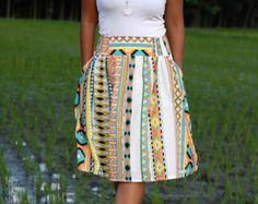 Orange Tribal Skirt, Midi Skirt in Tribal Pattern, Colorful Tribal Skirt with Pockets